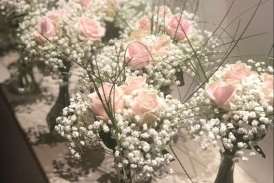 rose and baby breath